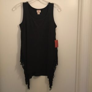 🆕 Mossimo Supply Co. suede fringe black tank top